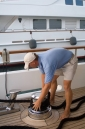 Paying out the mooring line