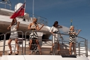 Victoria Lyon, Chantal Leverton, Tasya Hodges,and Izzy Johnston from band Escala playing aboard the new Sunseeker Predator 130 at the Southampton Boat show 09