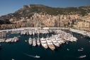 View of the Monaco Yacht show from the mizzen mast aboard Athene