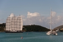 Maltese Falcon and Necker Belle leaving Falmouth Harbour