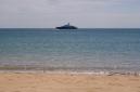 "Motor yacht ""Leander"" at anchor in Carlisle Bay"